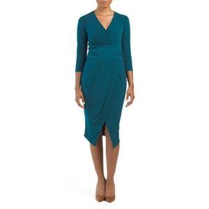 NWOT- Women Ruched Waist Tricot Jersey Dress